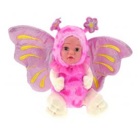 Bambola Farfalla Peluche BeBe con Ali Glitter 23cm Colore Rosa
