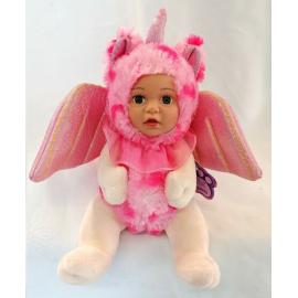 Bambola Unicorno Peluche BeBe con Ali Glitter 23cm Colore Rosa