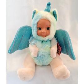 Bambola Unicorno Peluche BeBe con Ali Glitter 23cm Colore Blu