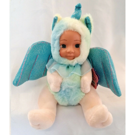 BeBe Plush Unicorn Doll with Glitter Wings 23cm Color Blue