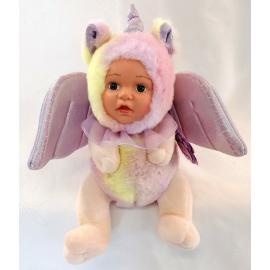 Bambola Unicorno Peluche BeBe con Ali Glitter 23cm Colore Viola