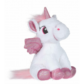 Unicorno Peluche con Ali Glitter 20cm Colore Bianco