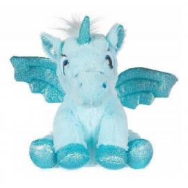 Unicorno Peluche con Ali Glitter 20cm Colore Blu