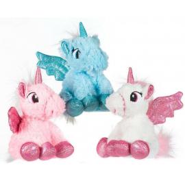 Set 3 Pezzi Unicorno Peluche con Ali Glitter 20cm 3 Colori
