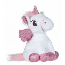 Unicorno Peluche con Ali Glitter 28cm Colore Bianco