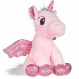 Unicorn Plush with 28cm Glitter Wings Color Pink