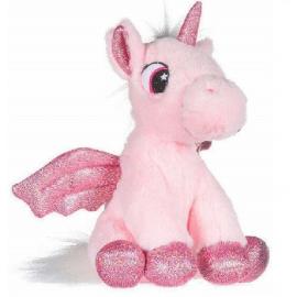 Unicorno Peluche con Ali Glitter 28cm Colore Rosa