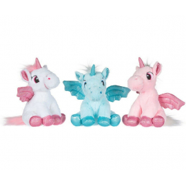 Set 3 Pieces Unicorn Plush with 28cm Glitter Wings 3 Colors