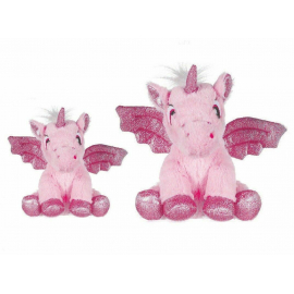 set 2 Unicorns Plush with 20 and 28 cm Glitter wings Color Pink