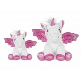 set 2 Unicorni Peluche con Ali Glitter da 20 e 28 cm Colore Bianco