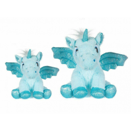 set 2 Unicorns Plush with 20 and 28 cm Glitter wings Color Blue