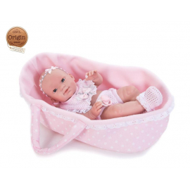 NINES D'ONIL Doll 37cm My Baby in Pink Cot Body articulated in Vinyl