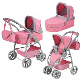 S.Toys Grande Carrozzina Passeggino Per Bambole Combi 8-funzioni Gioco Rosa