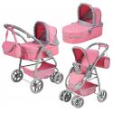 S.Toys Large Pram Stroller For Dolls Combi 8-function Game Pink