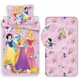 Disney Princess 3 Pieces Set Single Bed Duvet Cover, Pillowcase + Sheets under