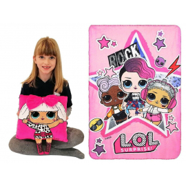 LOL Surprise Set Diva Pillow Embroidered Pink + Plaid Blanket 150x100cm