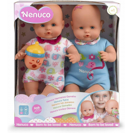 Nenuco Famosa 2x Twin Dolls 35 cm Pacifier in Box, Newborn