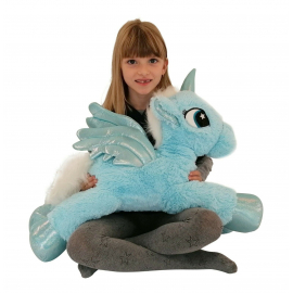 Large Unicorn Plush 60cm Blue Pony Horse Kids Adult Boys