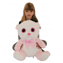 Big Plush Bear Panda Pink White 45cm Soft Glitter Eyes and Delicate Kids Boys