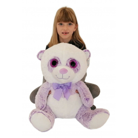 Big Plush Bear Panda White Violet 45cm Soft Glitter Eyes and Delicate Kids Boys