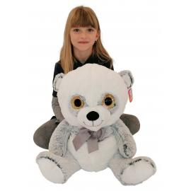 Grande Peluche Orso Panda 45 cm Bianco Blu Occhi Glitter Bambini Ragazzi