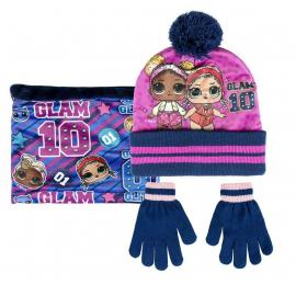 L.O.L. Surprise LOL 3 pezzi Cappello,Scaldacollo Guanti Invernale Bambina 3-8anni