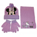 Minnie Mouse Unicorn Set 3 pieces Hat, Scarf Winter Gloves Girl tg 52 Pink-Lilac