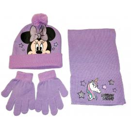 Minnie Mouse Unicorno Set 3 pezzi Cappello,Sciarpa Guanti Invernale Bambina tg 52 Rosa Lilla