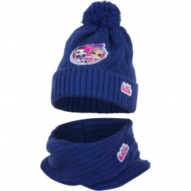 L.O.L. Surprise LOL 2pieces Pon Pon Hat Winter Neck Warmer Girl 52/54 Blue