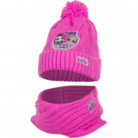 L.O.L. Surprise LOL 2pieces Pon Pon Hat Winter Neck Warmer Girl 52/54 Pink