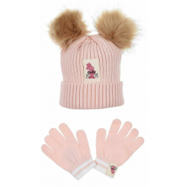 Minnie Mouse Hat with 2 Pon Pon Ears, Girl Winter Gloves 3-10 years Pink
