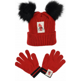 Minnie Mouse Hat with 2 Pon Pon Ears, Girl Winter Gloves 3-10 years Red