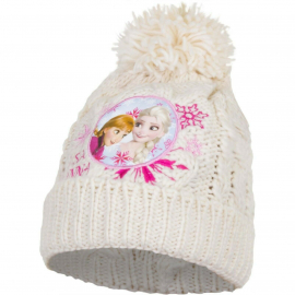 Disney Frozen Anna and Elsa Pon Pon Hat Winter Acrylic Baby Girl Size 3-8 Cream White
