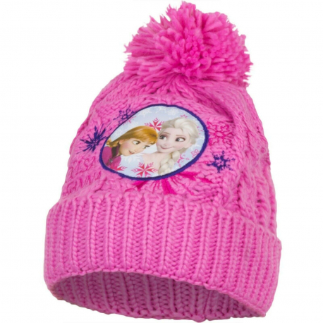 Disney Frozen Anna and Elsa Pon Pon Hat Winter Acrylic Baby Girl Size 3-8 Pink