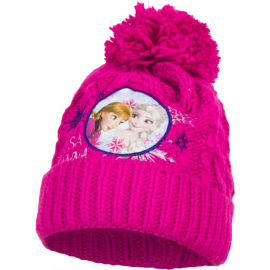 Disney Frozen Anna and Elsa Pon Pon Hat Winter Acrylic Baby Girl Size 3-8 Fucsia