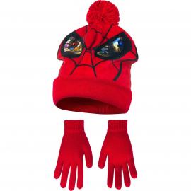 Spider Man 2 pezzi Cappello con Pon Pon + Guanti Invernale Bambino 3-8anni Rosso