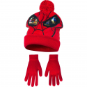 Spider Man 2-piece Hat with Poncho + Winter Gloves Child 3-8years Red
