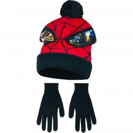 Spider Man 2 pezzi Cappello con Pon Pon + Guanti Invernale Bambino 3-8anni Nero