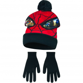 Spider Man 2-piece Hat with Poncho + Winter Gloves Child 3-8years Black