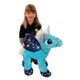 Unicorno 50 cm Grande Peluche in Piedi Pony Cavallo Verde per Bambini Ragazzi