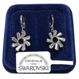 Flower with Drop Earrings pl 18K White Gold with Blue Swarovski Crystals