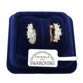 Meshes Triangles Earrings pl. 18K Yellow Gold with Swarovski Crystals SW003