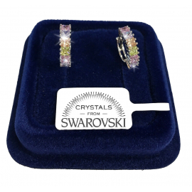 Rims 16 Earrings man woman white gold pl. 18K real swarovski crystals SW8 / 11