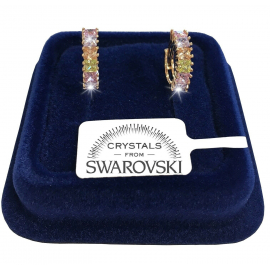 Circles 14 mm Women's Earrings pl. 18K white gold with Swarovski crystals m / color