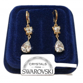 Pendant flowers 30mm Woman Earrings pl. 18K yellow gold with Swarovski crystals