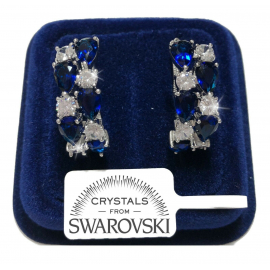 Rhombus Button Earrings woman pl. 18K white gold with Swarovski Argen Crystals
