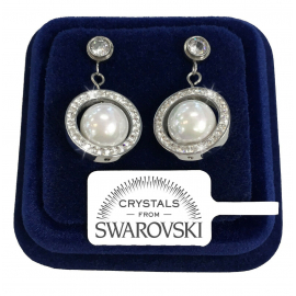 Tris Woman Earrings pl. 18K white gold with Silver Swarovski Crystals
