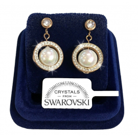 Pearl Point of Light Woman Earrings Steel with SILVER Swarovski crystals