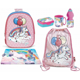 3D Backpack Unicorn Magic Backpack Set, Sports Bag, Kindergarten School Snack Box
