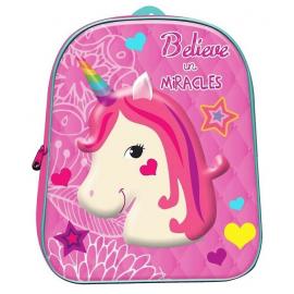 Unicorno Believe in Miracles Zainetto Zaino 3D Scuola Materna Asilo tempo Libero